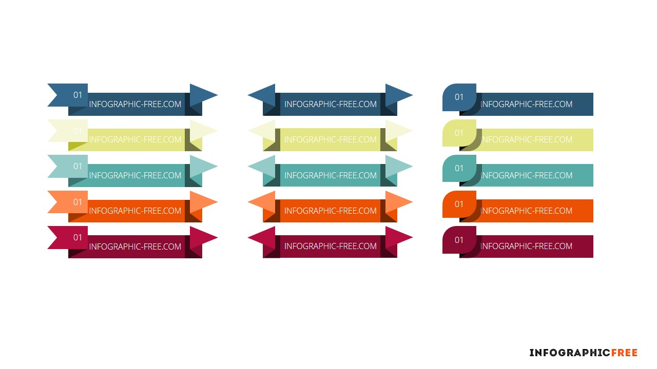 free infographic ribbons banners powerpoint template