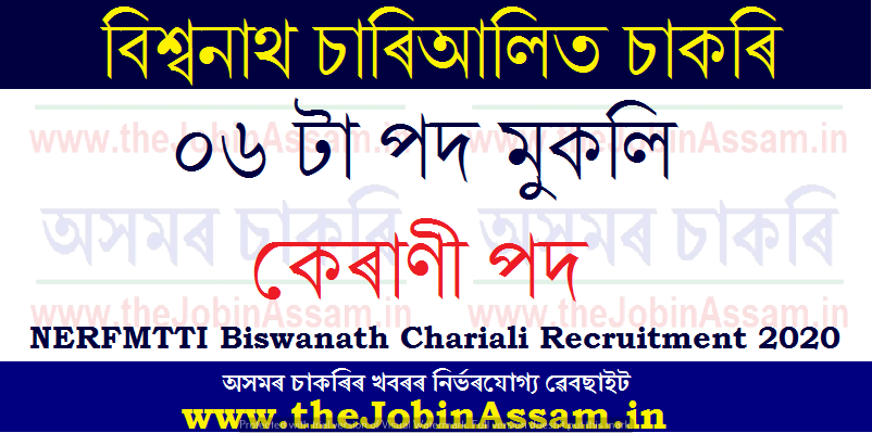NERFMTTI Biswanath Chariali Recruitment 2020