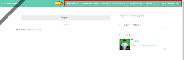 Menu template di blogspot