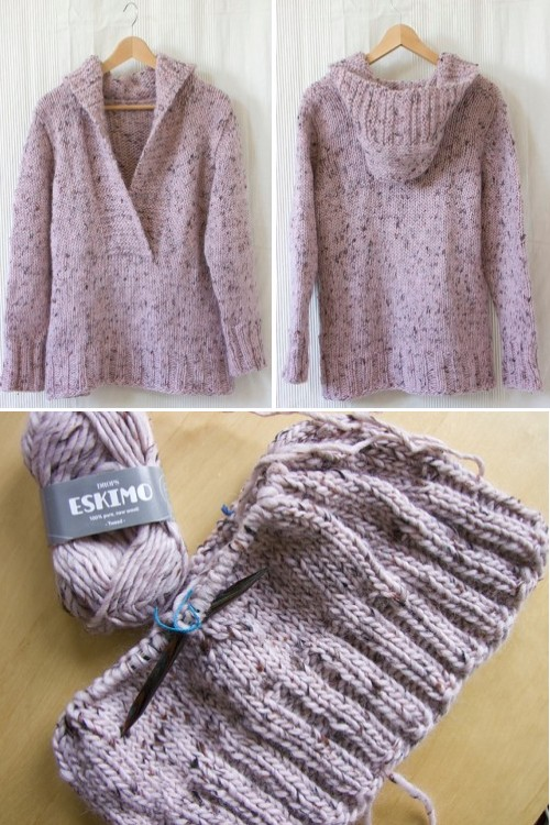 Pinky Campfire (Knitted Jumper with hood) - Free Pattern