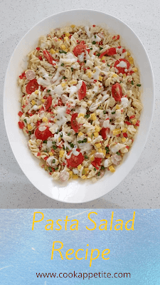 Not only does everyone love Pasta Salads but they are easy to make . tossed with chopped chicken Viennas,bell peppers,cherry tomatoes, spring onion,diced cheddar cheese and store bought salad dressing. This salad is the perfect side dish . It's a flavorful hearty meal