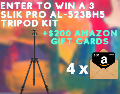 Enter To Win a 3 Slik PRO AL-523BH5 Tripod Kit + 4x $50 Amazon Gift Cards ( Worth Over : +$800)