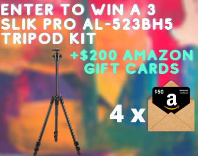 Enter To Win a 3 Slik PRO AL-523BH5 Tripod Kit + 4x $50 Amazon Gift Cards ( Worth Over : +$800)