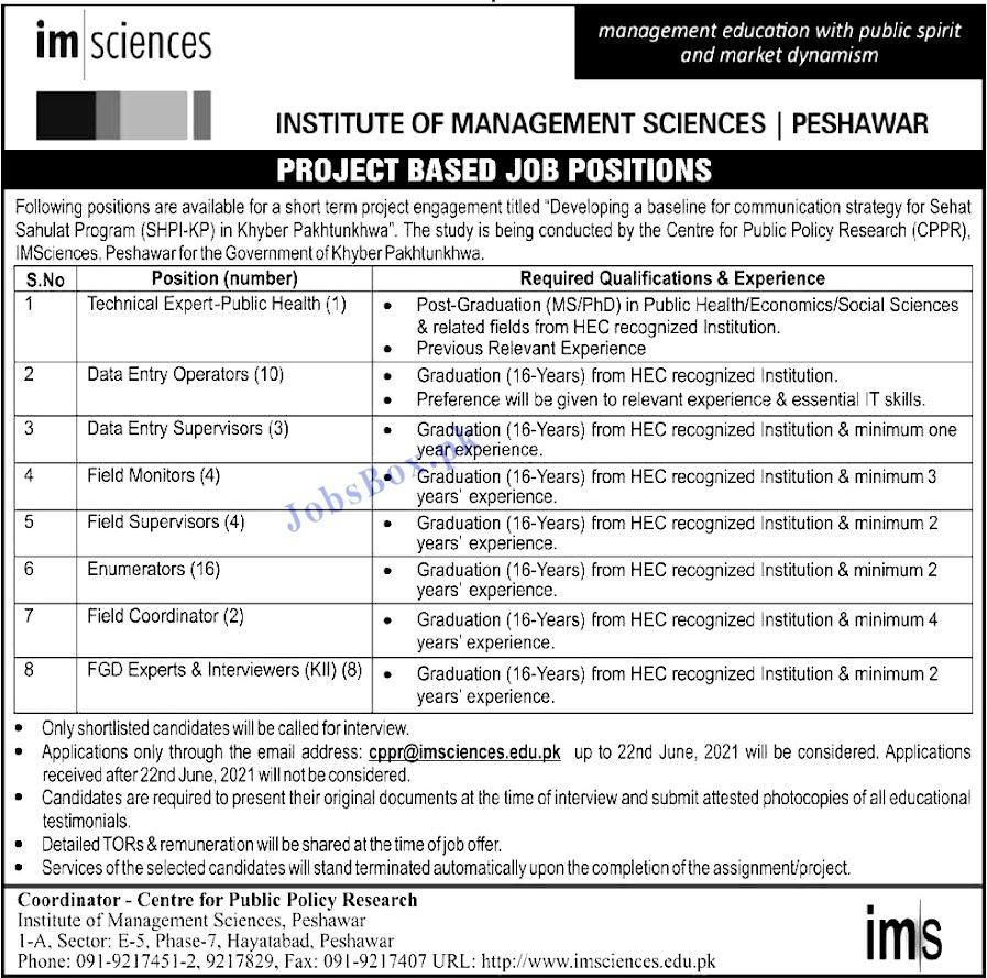 Latest Jobs in Institute of Management Sciences (IM Sciences)  June 2021