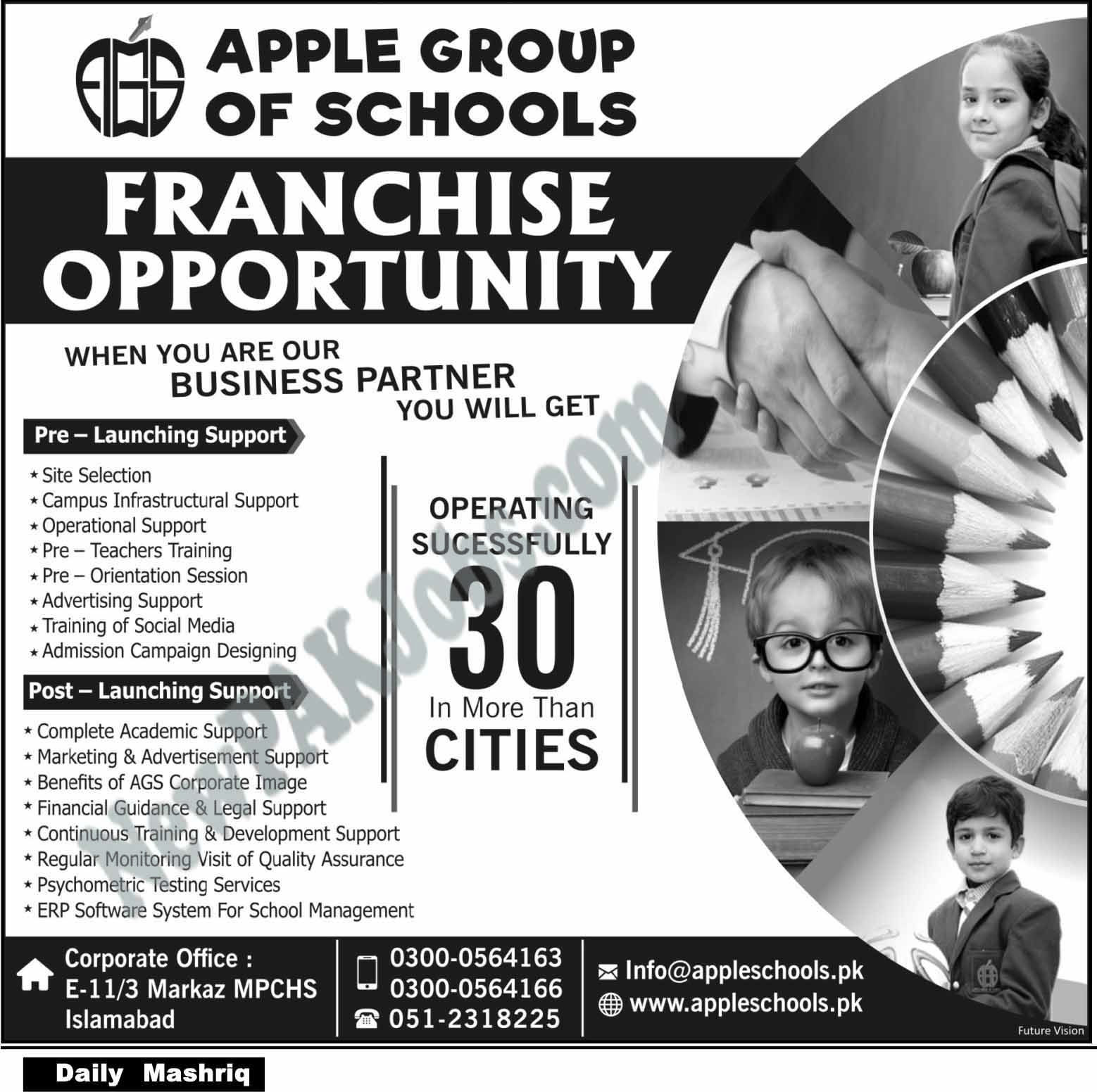 Business Opportunities with Apple Group of Schools, Franchise Opportunities