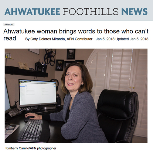Snapshot of AFN web story, with photo of Andrea Pasquale at home working on computer in her den, smiling at camera.  Headline: Ahwatukee woman brings words to those who can't read By Coty Dolores Miranda, AFN Contributor Jan 5, 2018 Updated Jan 5, 2018