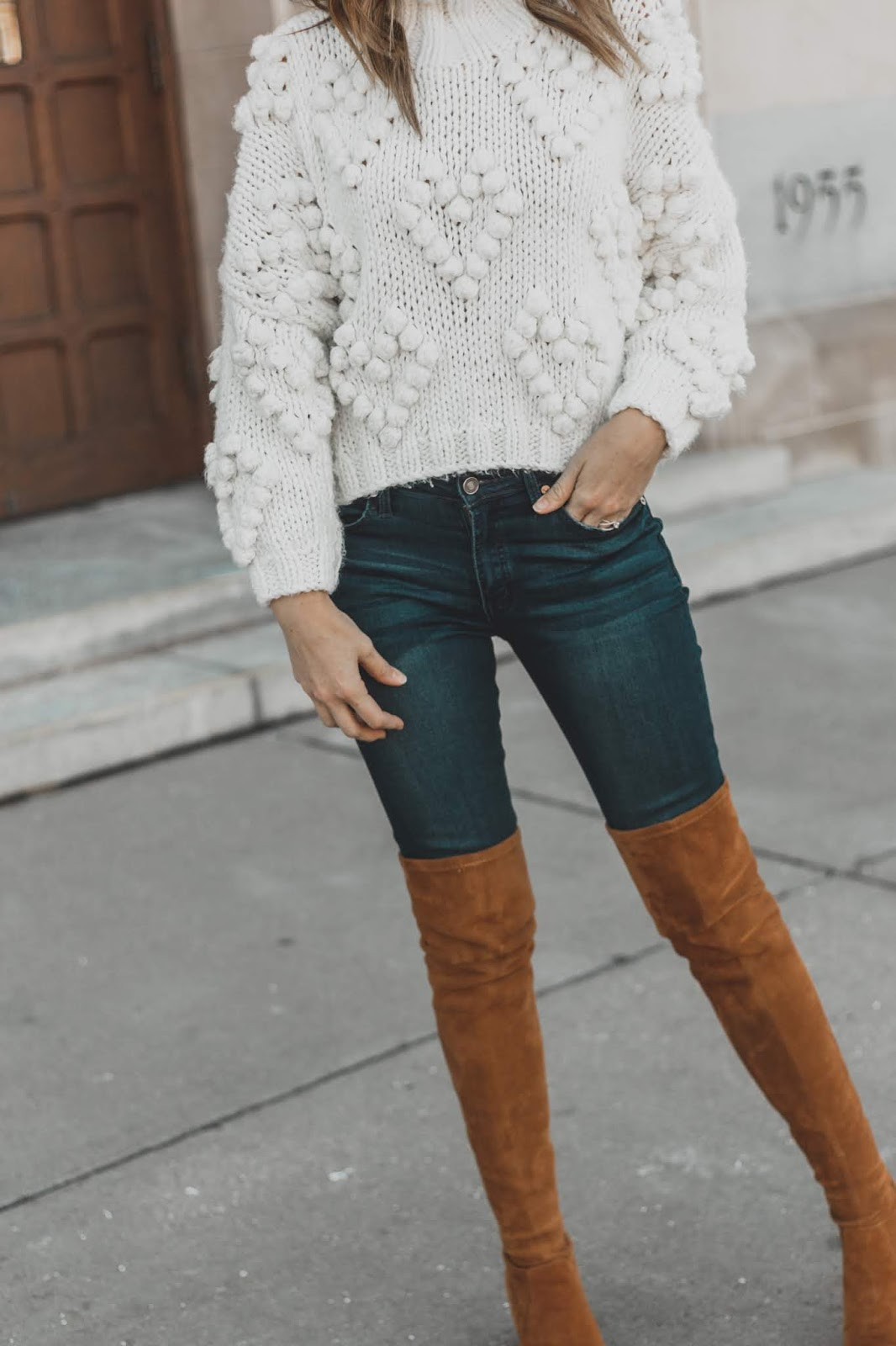 White Knit Pom Sweater