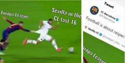 Barcelona hit back at Sevilla for PSG loss trolling