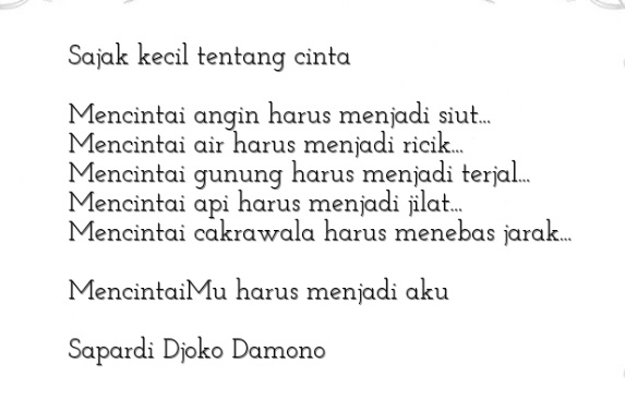 sajak kecil tentang cinta
