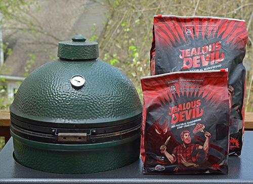 Big Green Egg with Jealous Devil hardwood lump charcoal
