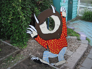 Monster decoration with cut-out for face.