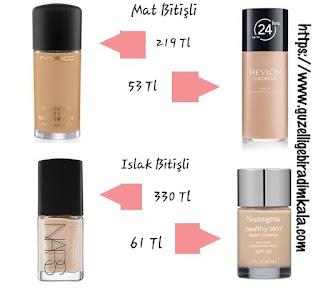 Mat Bitişli Mac Studio Fix Fluid& Revlon ColorStay-Islak Bitişli Nars Sheer Glow&Neutrogena Healthy Skin Fondöten İncelemesi!