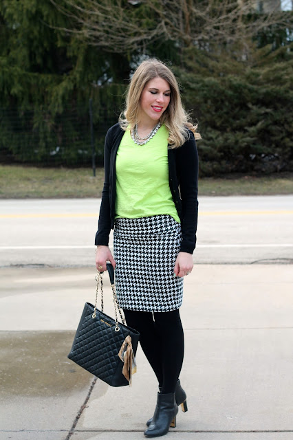 neon tee, black cardigan, houndstooth pencil skirt, black booties, Greg Michaels tote