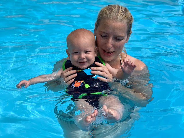 Baby Boy being held by me and enjoying the water