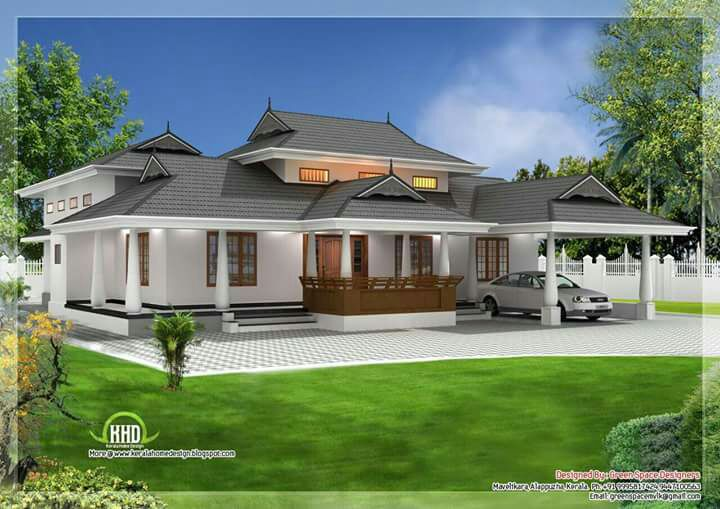 Kerala traditional 3 bedroom house plan with courtyard and for House plans in kerala with estimate