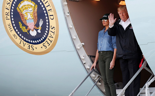 Comforter-in-chief: Trump praises 'cooperation and coordination' after he and Melania swing by Texas and Louisiana to visit thousands made homeless by Hurricane Harvey