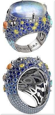 ♦Armoura Moonstone sapphire diamond aquamarine platinium ring #jewelry #armoura #brilliantluxury