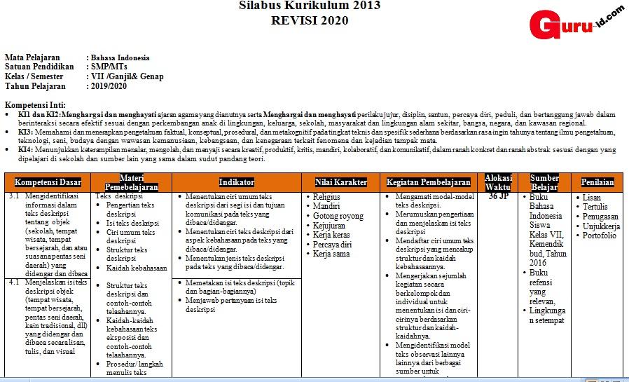 gambar silabus k13 smp revisi 2020