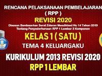 RPP 1 Lembar Kelas 1 Tema 4 SD/MI Kurikulum 2013 Revisi 2020 Tahun Pelajaran 2020 - 2021