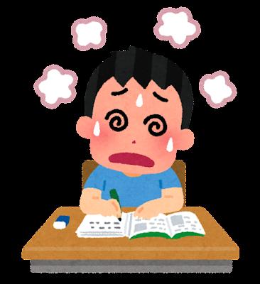 勉強しすぎの子供のイラスト(男性)