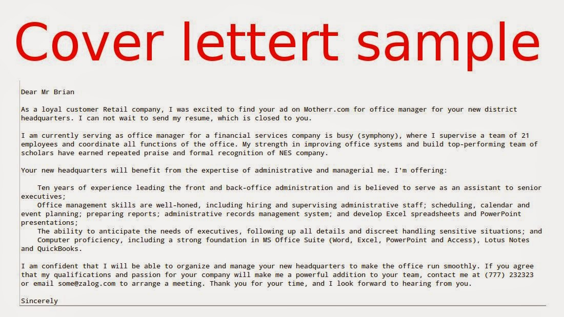 Application letter email sample