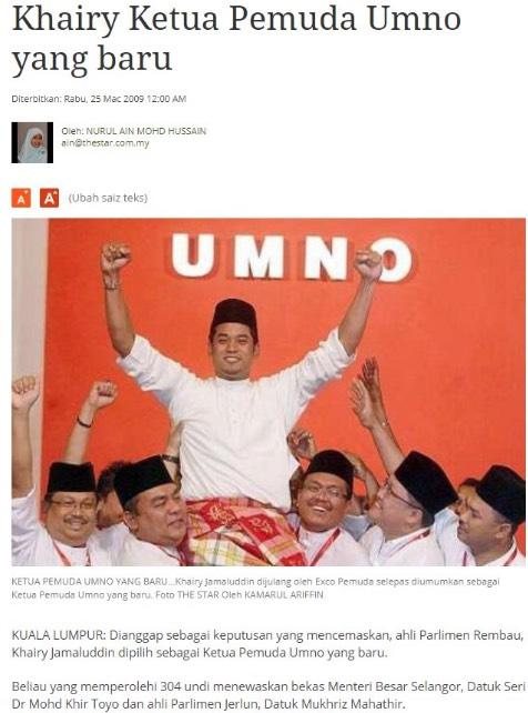 Khairy Jamaluddin Rasuah dan Politik Wang