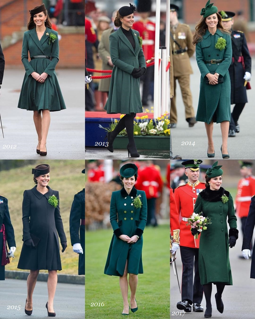Since her marriage to Prince William, The Duchess of Cambridge, has attended the St. Patrick's Day Parade 6 times where she present the Irish guards with the sprig of Shamrock.