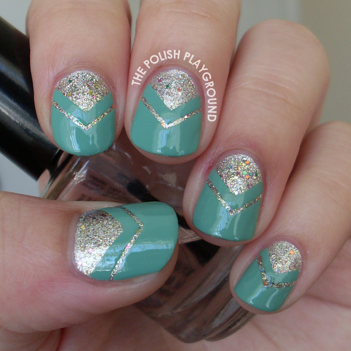 Glitter and Mint Double Chevron Moon Manicure Nail Art