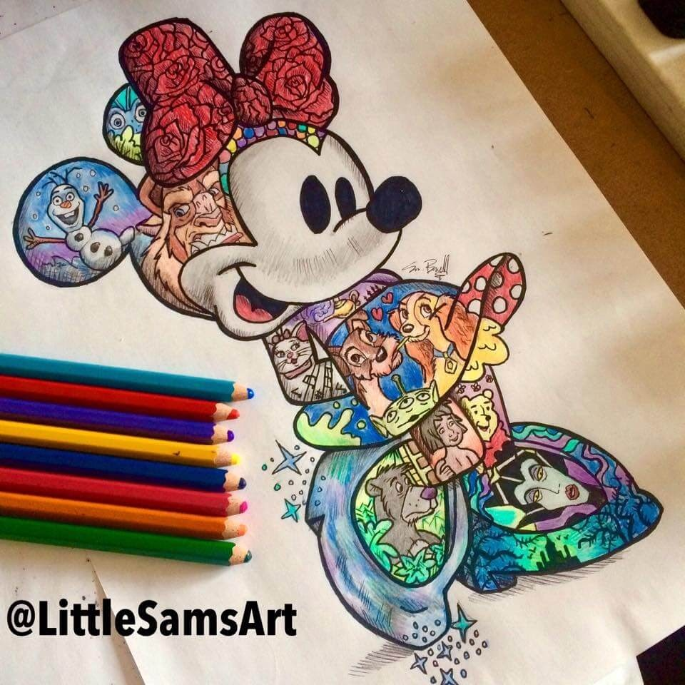 04-Walt-Disney-Minnie-Mouse-Sam-Brunell-littlesamsart-Movie-Character-Drawings-within-Characters-www-designstack-co