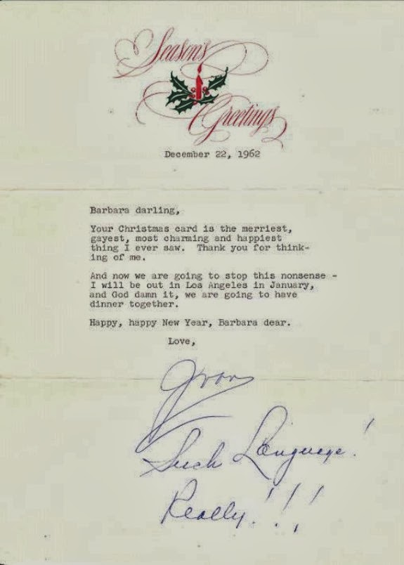 stars and letters: Season\'s greetings from Joan to Barbara