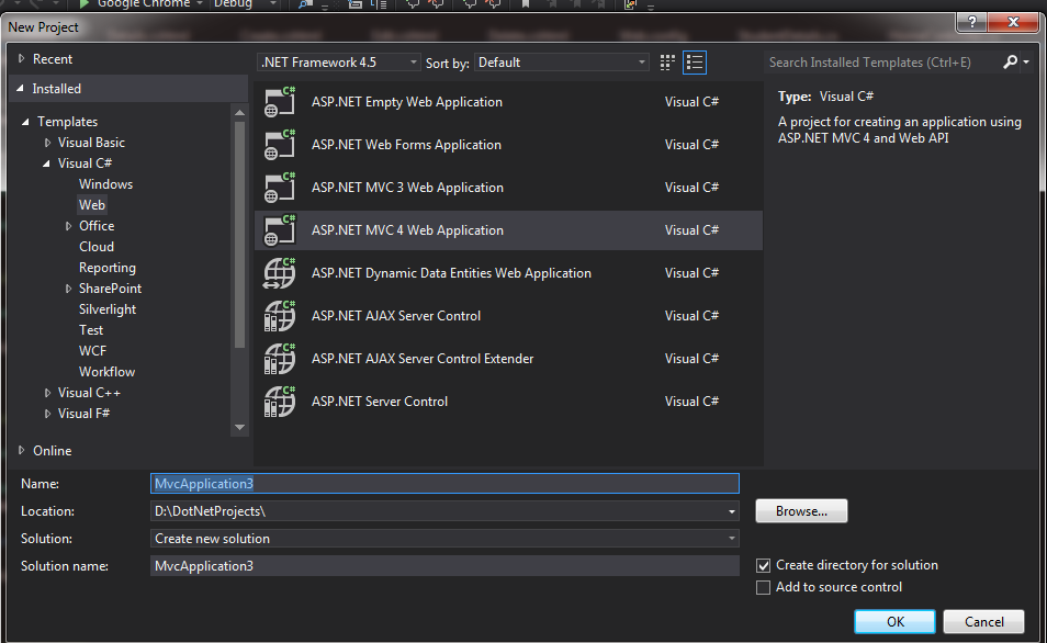 First MVC 4 Sample Application With Entity Framework Code