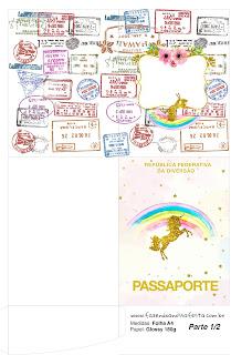 Imprimible con forma de Pasaporte de Fiesta de Unicornios.