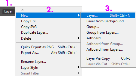 Membuat layer baru dengan menu New Layer Photoshop