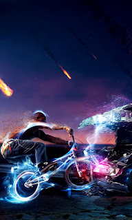 3d man drive a bicycle fire wallpapers