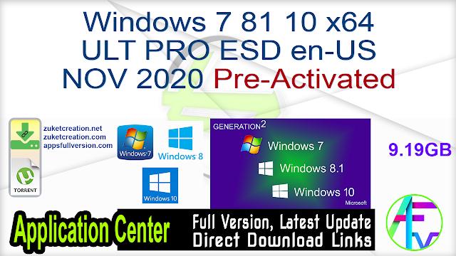Windows 7 8.1 10 x64 ULT PRO ESD en-US NOV 2020 {Gen2} Pre-Activated