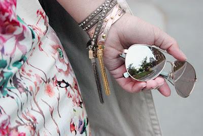 Kate Spade Mirror Sunglasses and Leather Wrap Bracelets