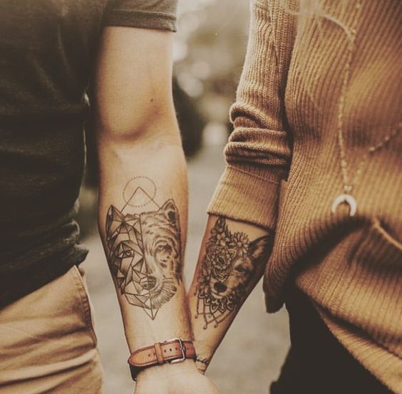 wolf couple matching tattoo