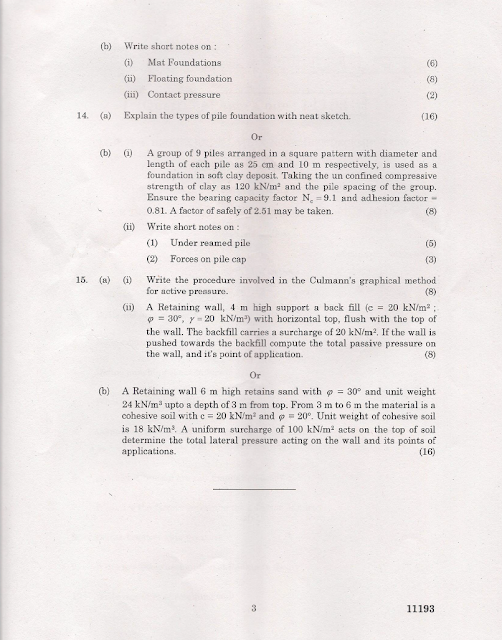 CE2305 Foundation Engineering Nov Dec 2012 Question Paper