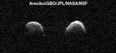 Two asteroids orbiting one another in an orbit look exactly the same.
