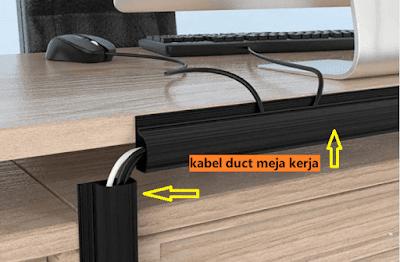 gambar design penempatan kabel duct pada meja komputer
