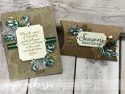 By Angie McKenzie for Stampin' Dreams Blog Hop; Click READ or VISIT to go to my blog for details! Featuring a sneak peek of the Peaceful Boughs Bundle, Ice Stampin' Glitter, Shimmery Crystal Effects, Snowfall Accents Puff Paint by Stampin' Up!; #pineboughs  #christmascards #peacefulboughsstampset #peacefulboughsbundle #naturesinkspirations #makingotherssmileonecreationatatime #cardtechniques #stampinup #handmadecards #3dprojects