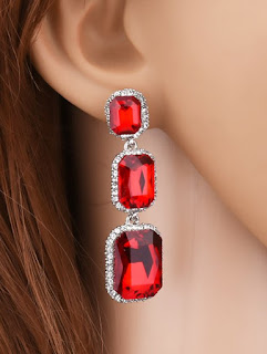 Artificial Gem Rhinestone Geometry Earrings - Red