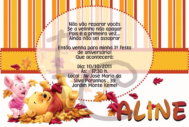 Convite padrão 10X15 cm - Baby Pooh