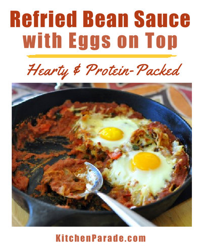 Refried Bean Sauce with Eggs on Top ♥ KitchenParade.com, a hearty protein-packed weekend brunch recipe.
