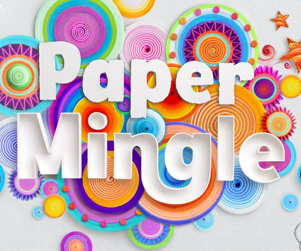 colorful rolled paper discs with white paper letters that spell paper mingle