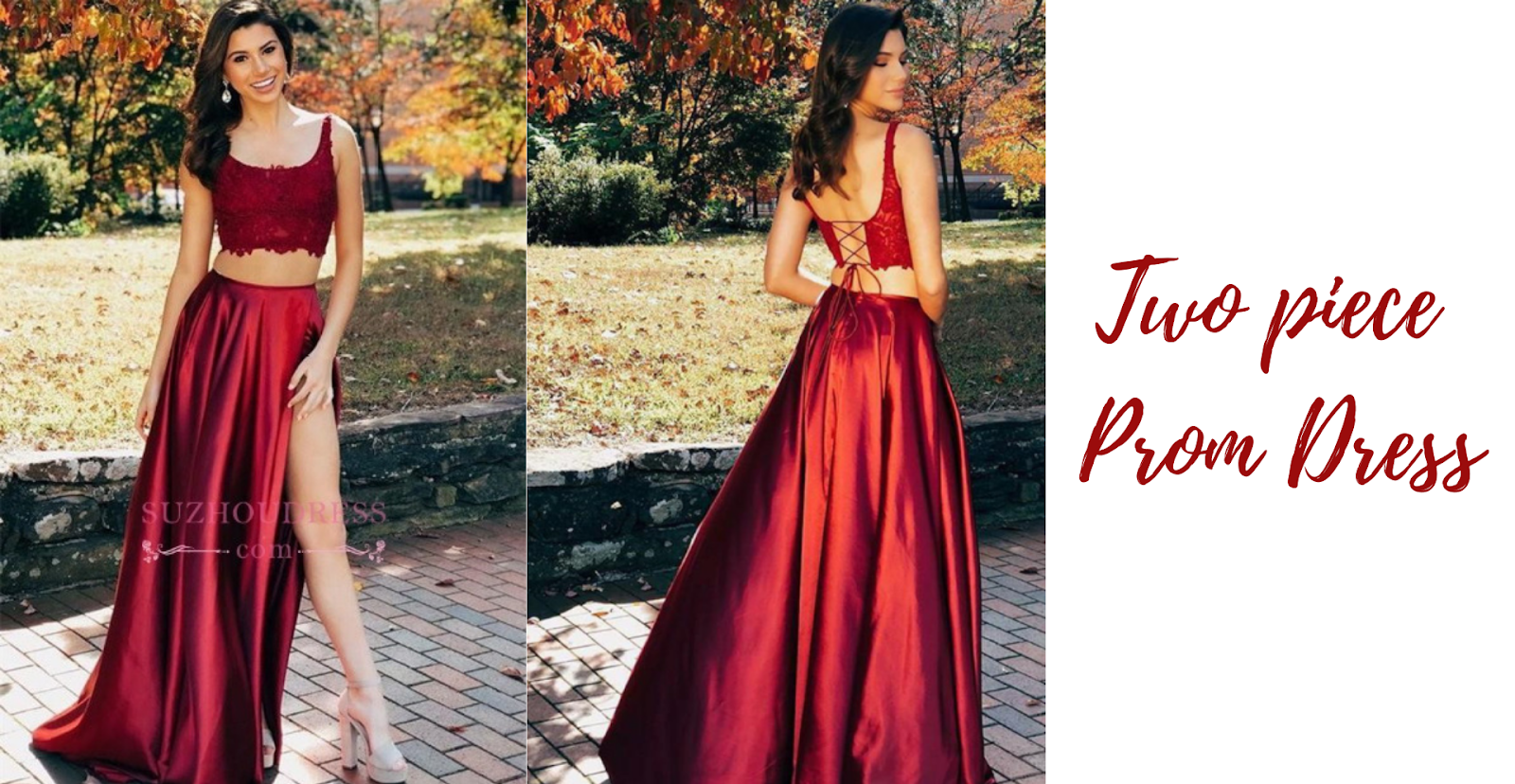 maroon tow piece prom dress