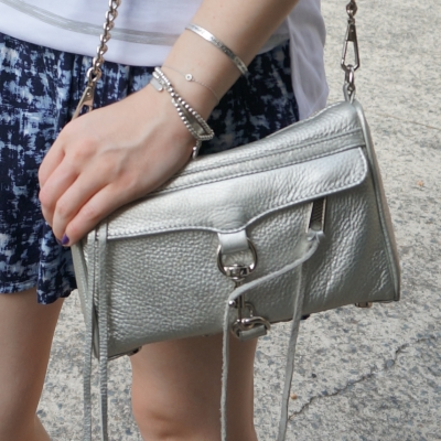 Rebecca Minkoff metallic silver mini MAC and silver bracelet stack | awayfromtheblue