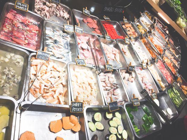 Food selection at Tong Yang Shabu-Shabu and Barbecue