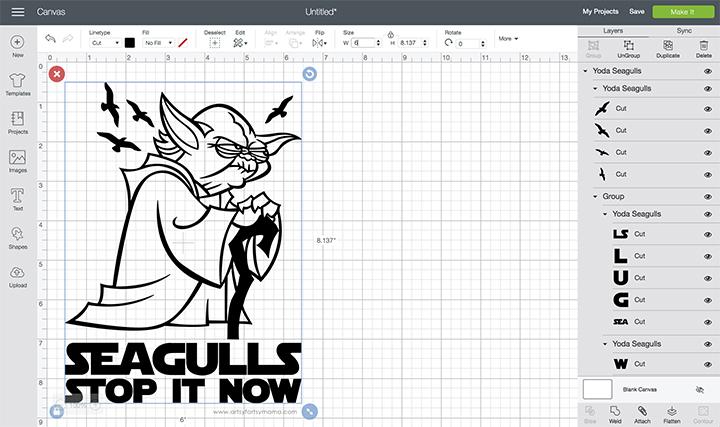 Yoda Seagulls Shirt with Free Cut File