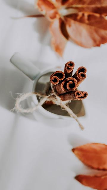 Cinnamon Wallpaper, Spices, White Cup